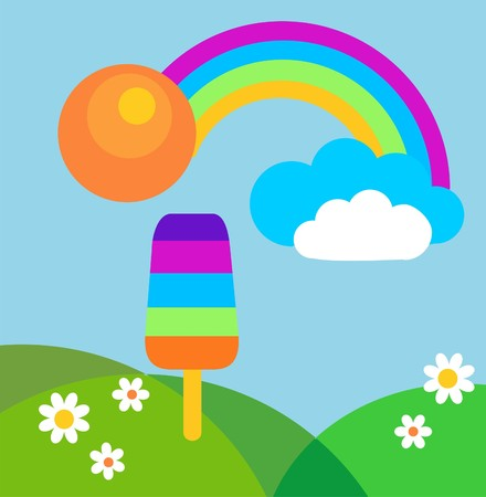 colorful summer meadow with rainbow, ice cream and sun Vector