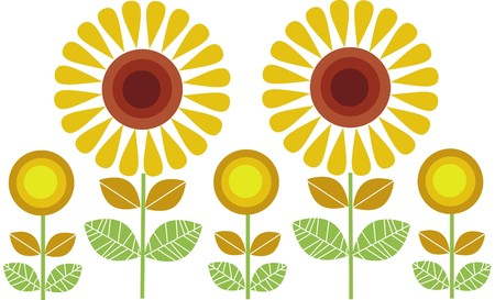 sunflower isolated: big and small sunflowers row  Illustration