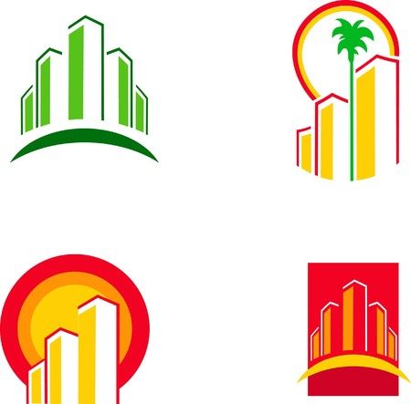 colorful building icons  Illustration