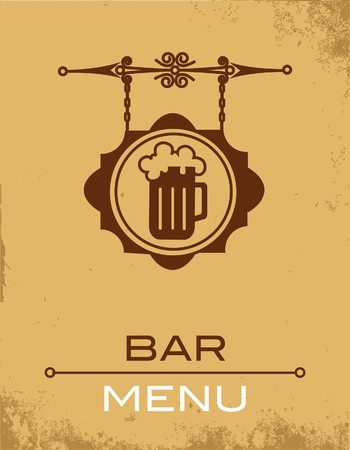 lager: Ancient street signboard of beer house or bar  Illustration