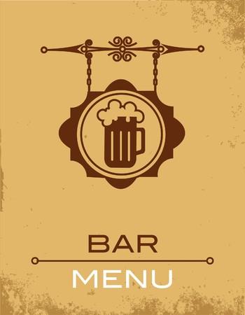 beer bar: Ancient street signboard of beer house or bar  Illustration