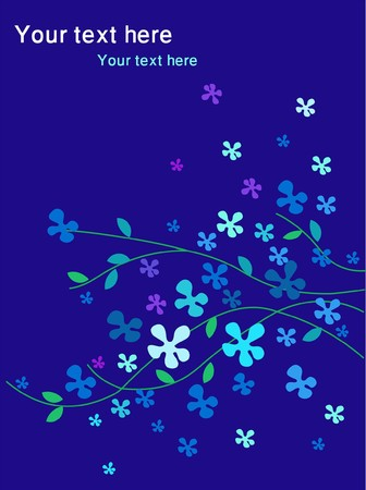 abstract flower background in blue colors  Vector