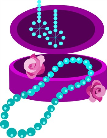 jewelery box with earring and necklace Stock Vector - 7526858