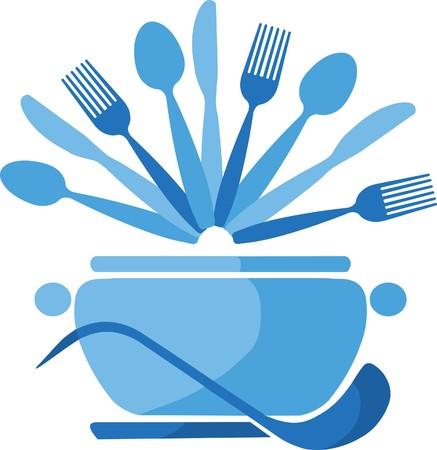soup spoon: blauwe pot met lepels en vorken Stock Illustratie