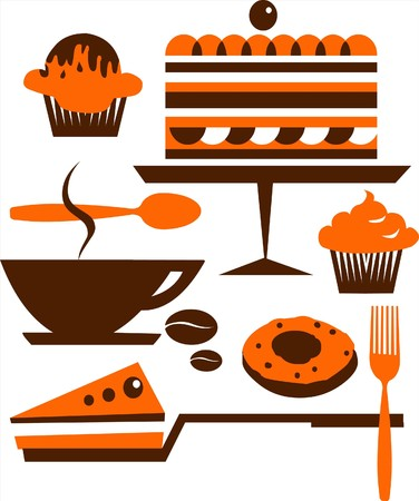 cup of coffee and several desserts Vector
