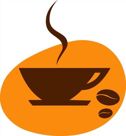 logo de comida: taza de caf� y de grano de caf� con fondo naranja  Vectores