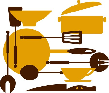 kitchen tools; frying pan, knifes, and bowls Stock Vector - 7526871