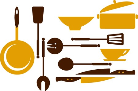 skillet: kitchen tools; frying pan, knifes, and bowls