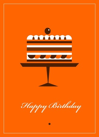 party tray:  greeting card for birthday with chocolate cake on orange background Illustration