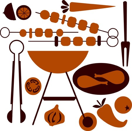 grilled vegetables: picnic and BBQ grill icon set