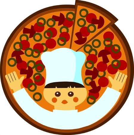 cartoon illustration of a head-cook with a pizza on a tray at white background  Vector