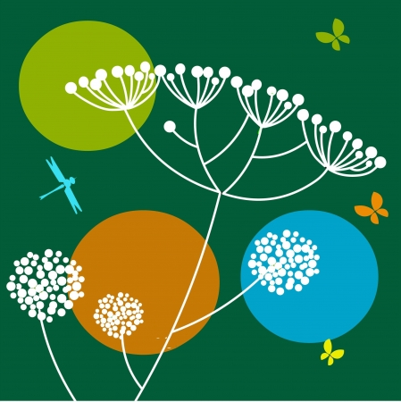 flowers and butterfly on green background  Vector