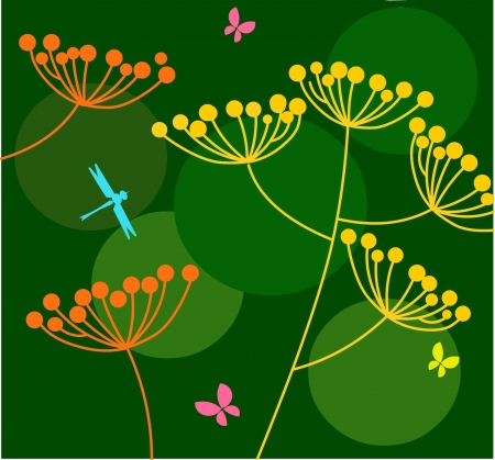 flowers and butterfly on green background Stock Vector - 7527010