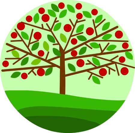 red apple tree on green background, spring season Vector