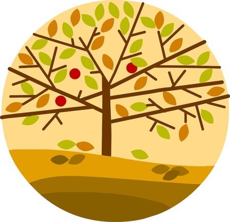 autumn tree on yellow background Vector
