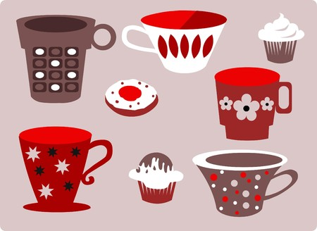 set of patterned cups of coffee and tea Vector