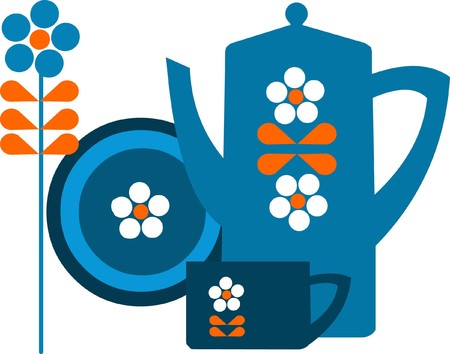 blue pot and a cup with flower and plate Illustration