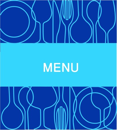 restaurant menu template with blue background  Vector