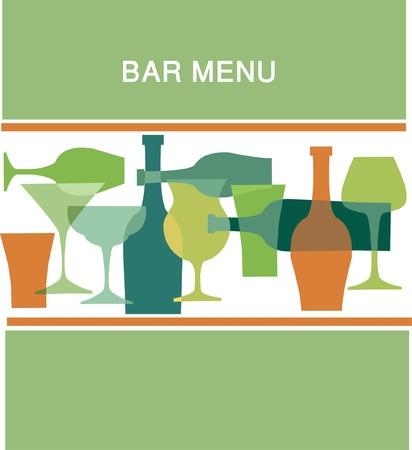 bar menu design template  in greens