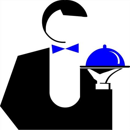 logos restaurantes: Camarero de hombre con un plato  Vectores
