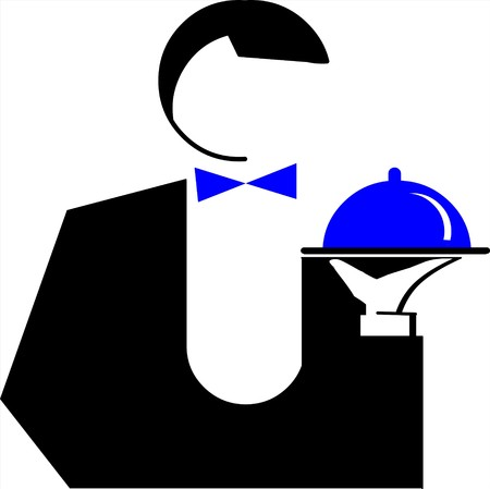 Man Waiter with a dish Illustration