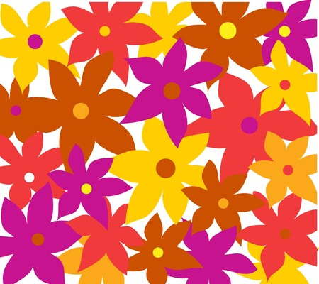 The decor of colored flowers  on a white background. Vector