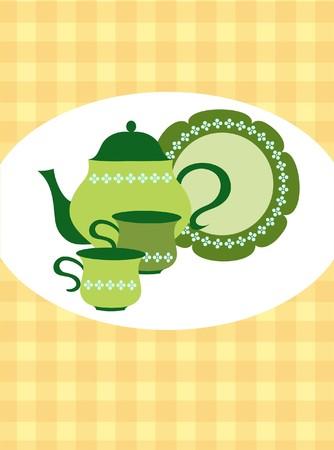 chinese tea cup: tetera retro verde, tazas y placa