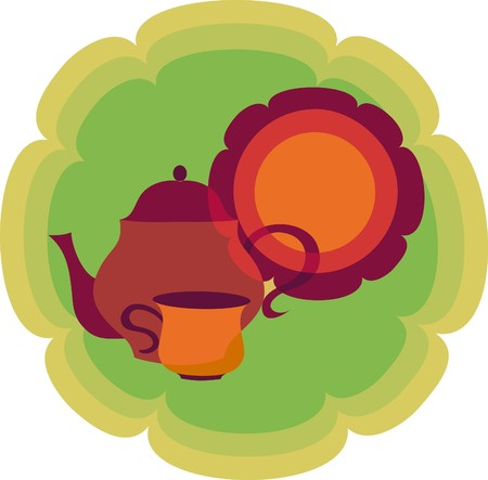 chinese teapot: retro teapot, cup and plate on flower shape background  Illustration