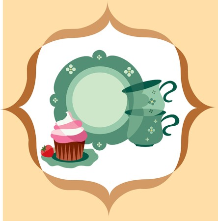 plate and cups beside dessert on retro background Vector