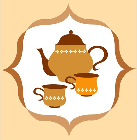 cold coffee: tea pot with tea and cup  on colorful background