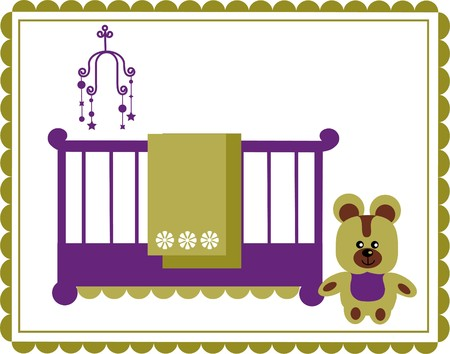 teddy bear next to baby cradle  illustration Vector