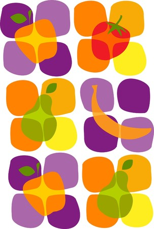 summer diet: colorful healthy summer fruit icons ,  illustration