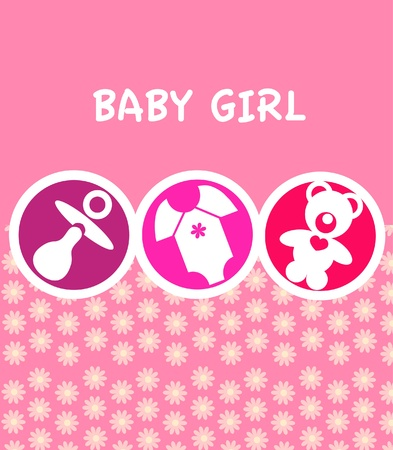 newborn baby girl card with baby accessories , vector illustration Vector