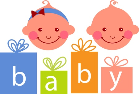 baby boy and baby girl , vector illustration Vector
