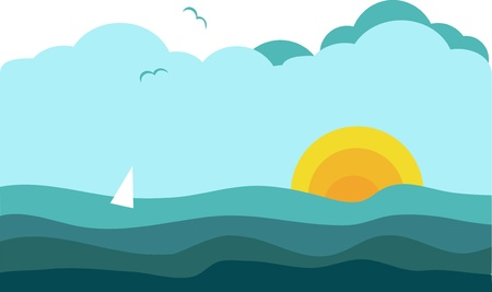 sunny view of ocean with sailing yacht, vector illustration Vector