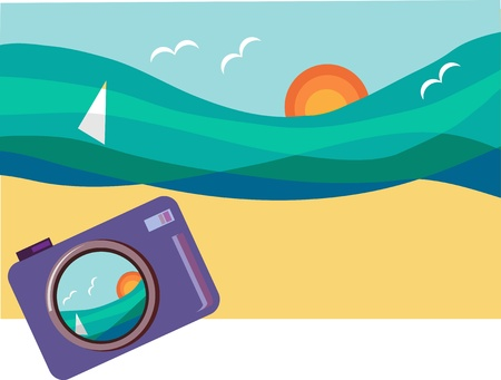 taking picture: summer holidays, taking picture of sunny beach . vector illustration