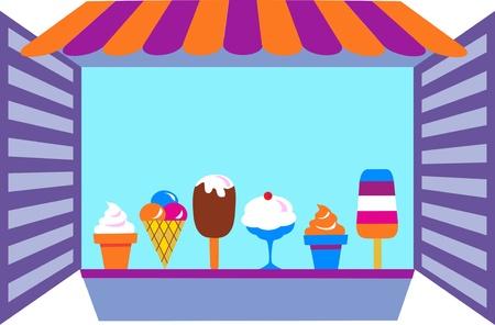 mezcla de frutas: kiosco venta hielo cremas, ilustraci�n vectorial Vectores