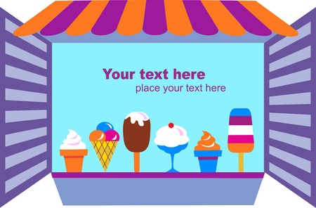 ice cream glass: kiosk that selling ice creams , vector illustration