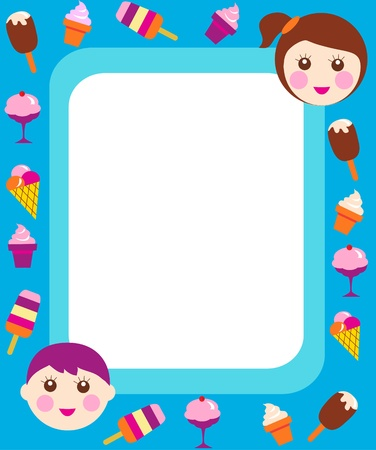 happy little children eating an ice-cream, vector illustration Stock Vector - 9861835