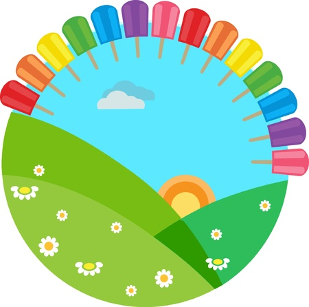 colorful summer meadow with rainbow with ice-creams Vector
