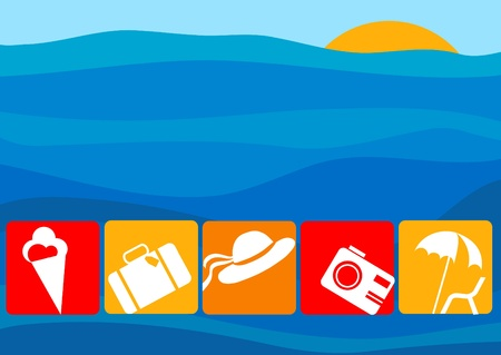 Airport and Travel Icons and Symbols with a sea as a background Vector
