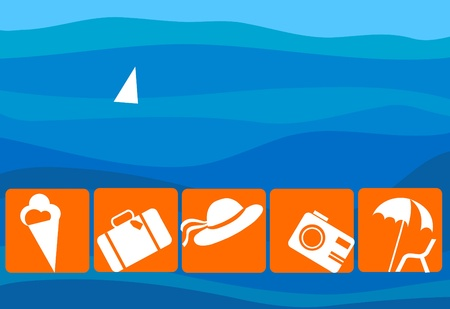 Airport and Travel Icons and Symbols on sea background Vector