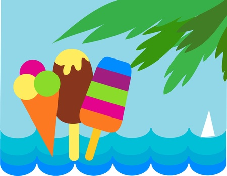 sun cream: colorful ice-creams on sea and palm background , vector illustration