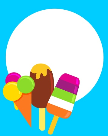 ice cream glass: colorful ice-creams, vector illustration with a place for your text Illustration