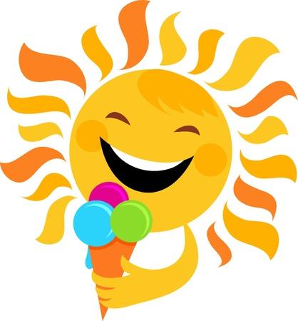 el sol: Smiling Sol comiendo helado, vector de ilustraci�n