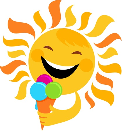 smiling sun: smiling sun eating ice cream , vector illustration