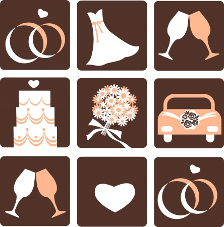 gentle nine wedding icons, vector illustration 4