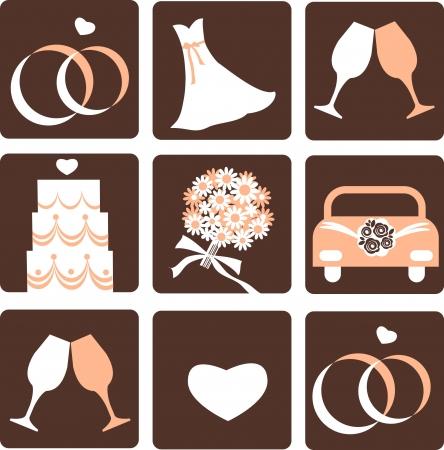 gentle nine wedding icons, vector illustration 4