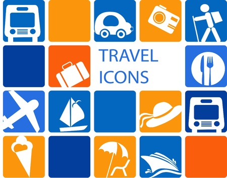 in blue and orange colorstraveling and transportation icon set Illustration