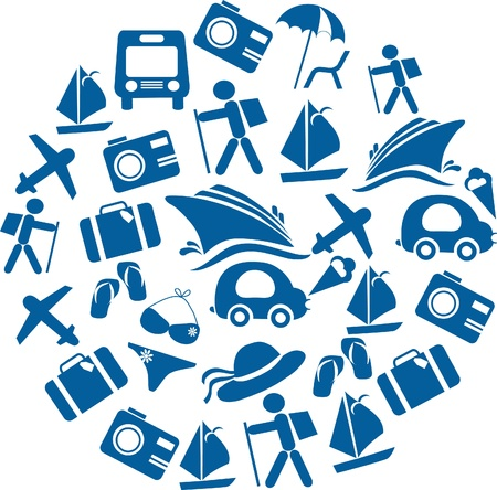 organised: traveling and transportation icon set organised in a round